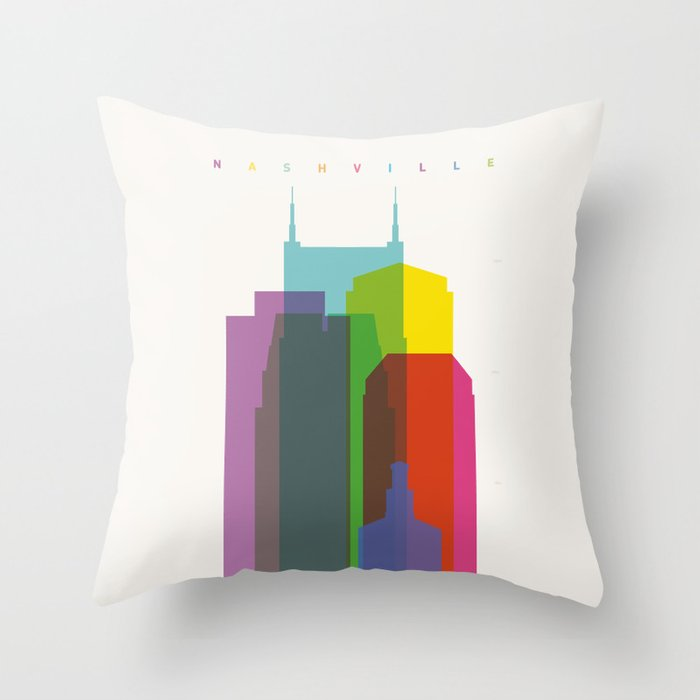 Shapes of Nashville Throw Pillow