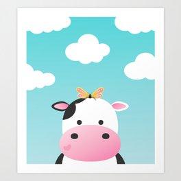 Cow & Buttefly Art Print
