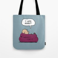 "charlie brown Tote Bags featuring Charlie Brown ""I Hate Myself"" Quote by TOM / TOM"