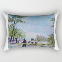 Village Cowherds - in watercolor Rectangular Pillow