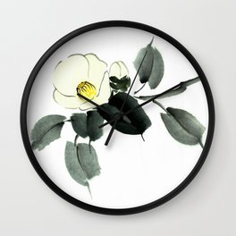 White camellia sumi ink and japanese watercolor painting Wall Clock
