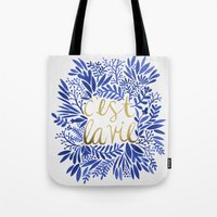 waldo Tote Bags featuring That's Life – Gold & Blue by Cat Coquillette