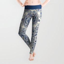 Floral Diamond Doodle in Dark Blue and Cream Leggings