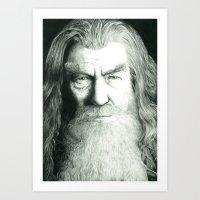 gandalf Art Prints featuring Gandalf by GlennBirdArt