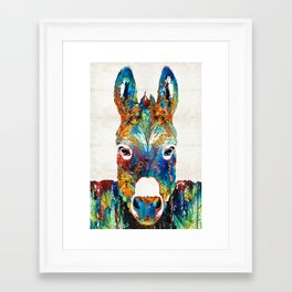 Colorful Donkey Art - Mr. Personality - By Sharon Cummings Framed Art Print