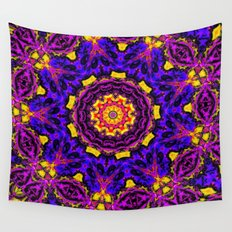 Lovely Healing Mandalas in Brilliant Colors: Black, Orchid, Yellow, Royal Blue and Pink Wall Tapestry