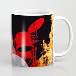 Flaming Red Drum Set Coffee Mug
