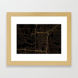 Black and gold Indianapolis map Framed Art Print