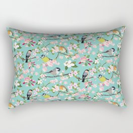 Blossom and Birds Turquoise Print Rectangular Pillow