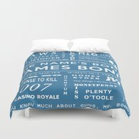 bond Duvet Covers featuring Bond Blue by Candace Fowler Ink&Co.