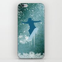 snowboarding iPhone & iPod Skins featuring Snowboarding by nicky2342
