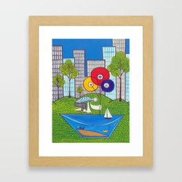 Puddle Fishing for Dreams Framed Art Print