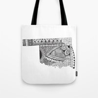 oklahoma Tote Bags featuring Oklahoma by Line Upon Line Designs