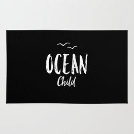 OCEAN CHILD HAND WRITTEN BLACK AND WHITE Rug