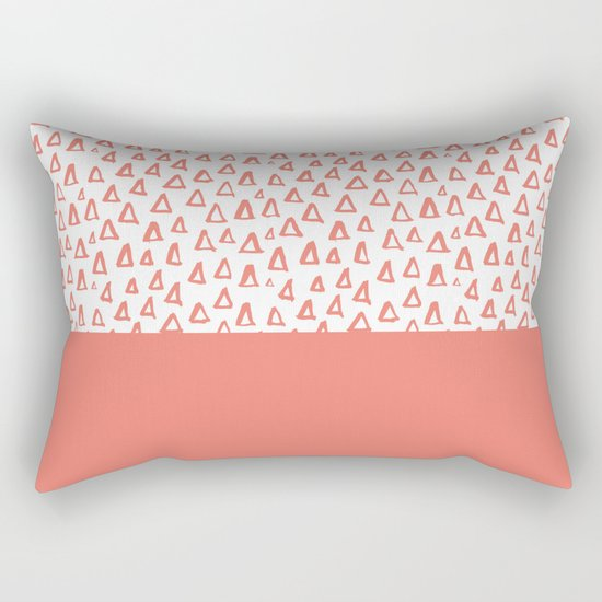 Triangles Coral Red Rectangular Pillow