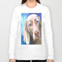 greg guillemin Long Sleeve T-shirts featuring Greg The Weimaraner by bmeow