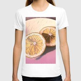 Lemon Study on Pink T-shirt