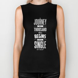 A Journey of a Thousand Miles Begins with a Single Step modern typography minimalism room wall decor Biker Tank