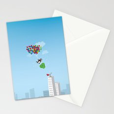 Beaver with watermelons on balloons Stationery Cards
