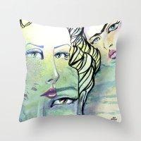 jane davenport Throw Pillows featuring Fridalicious by Jane Davenport by Jane Davenport