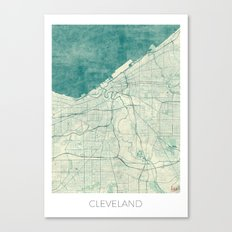 Cleveland Map Blue Vintage Canvas Print