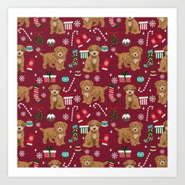 Bichpoo christmas dog breed holidays pet gifts pet friendly stockings candy canes snowflakes Art Print