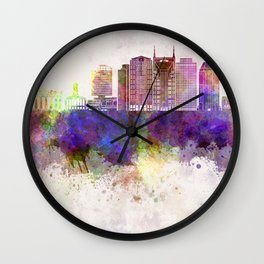 Nashville V2 skyline in watercolor background Wall Clock
