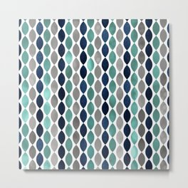 Oval Stripes Aqua and Navy Metal Print