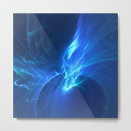 Electric Blue Fractal Metal Print