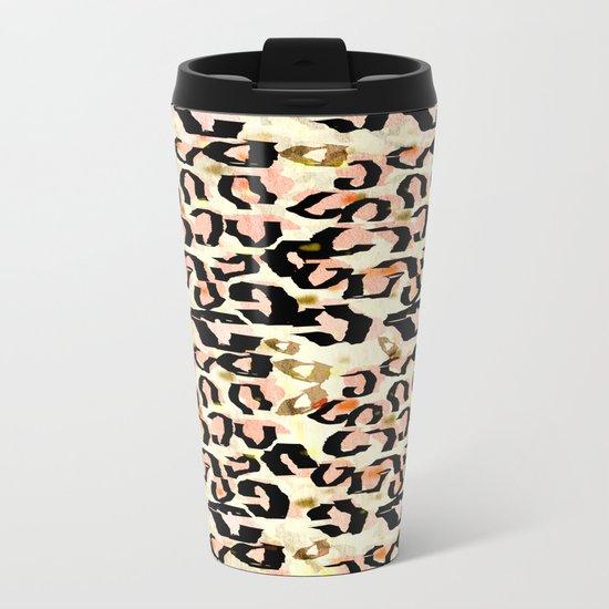 Abstract Leopard Print Metal Travel Mug