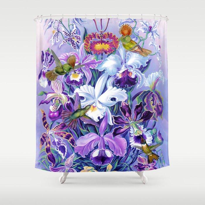 Orchids & Hummingbirds Shower Curtain