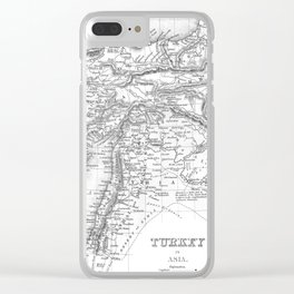 Vintage Map of Turkey (1850) BW Clear iPhone Case