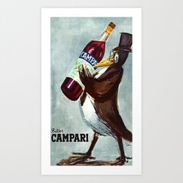 Vintage Slate Gray Bitter Campari 'Penguin' Aperitif Lithograph Advertisement Poster Art Print