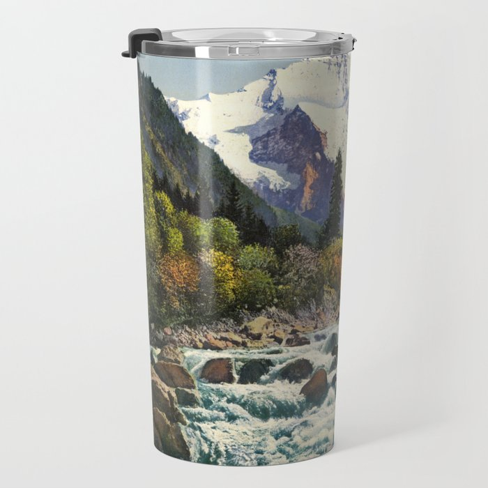 Mountains Forest Rocky River Travel Mug