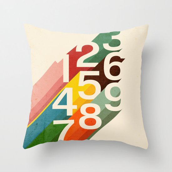 Retro Numbers Throw Pillow