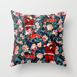 Santa Claus and Floral Pattern Throw Pillow