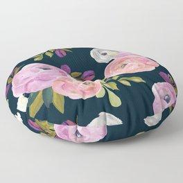 Midnight Florals - Pink & Purple Floor Pillow