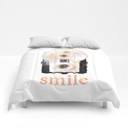 Retro Watercolor Camera SMILE! Comforters