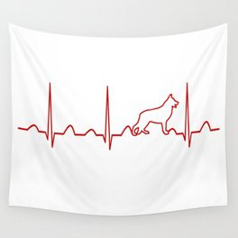 German Shepherd Heartbeat Wall Tapestry