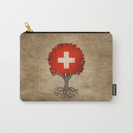 Vintage Tree of Life with Flag of Switzerland Carry-All Pouch