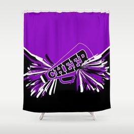 Purple, Black and White Cheerleader Design Shower Curtain