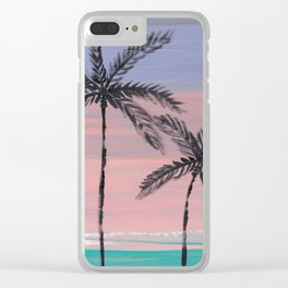palm trees in the sunset Clear iPhone Case