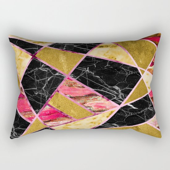 Abstract #456 Marble & Gold Rectangular Pillow