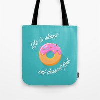dessert Tote Bags featuring Dessert by ministryofpixel