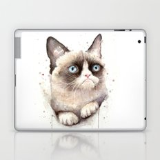 Grumpy Watercolor Cat Animals Meme Geek Art Laptop & iPad Skin