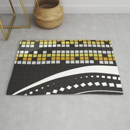 Abstract Crossword Puzzle Squares on Black Rug