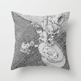 Old Gears New Purposes Throw Pillow