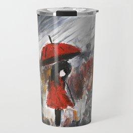 Girl In Red Raincoat Umbrella Rainy Day Fine Art Print Of Acrylic Painting Travel Mug
