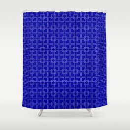 Rich Earth Blue Interlocking Square Pattern Shower Curtain