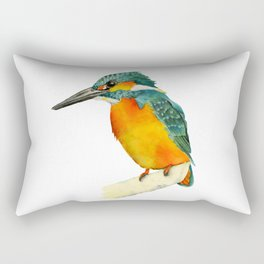 Kingfisher Bird Watercolor Painting Rectangular Pillow